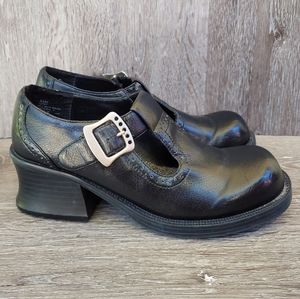Vtg 90s Maurices Black Mary Janes Brogues Shoes